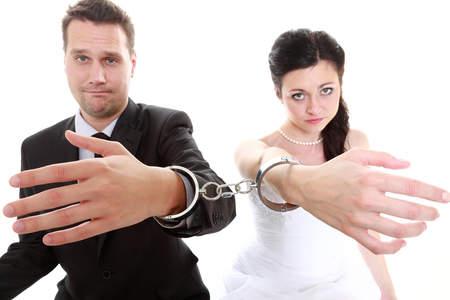 chained handcuffed newlyweds