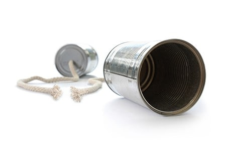 tin can phone with torn cord